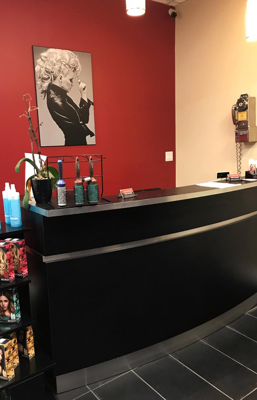 Chrome hair salon front desk